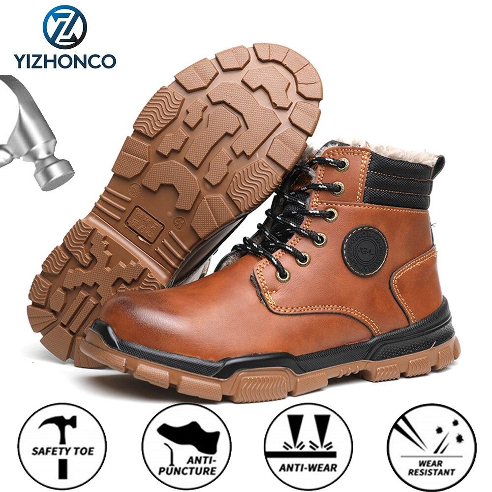 الشتاء الرجال الأحذية الأمن أفخم الرجال سلامة الأحذية الدافئة الأمن الأحذية مكافحة سحق حذاء امن للعمل ركوب أحذية التنزه YIZHONCO