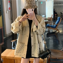 Spring and Autumn 2021 New Design Sense Niche Retro Overalls Style Loose Salt Plaid Long-Sleeved Jac