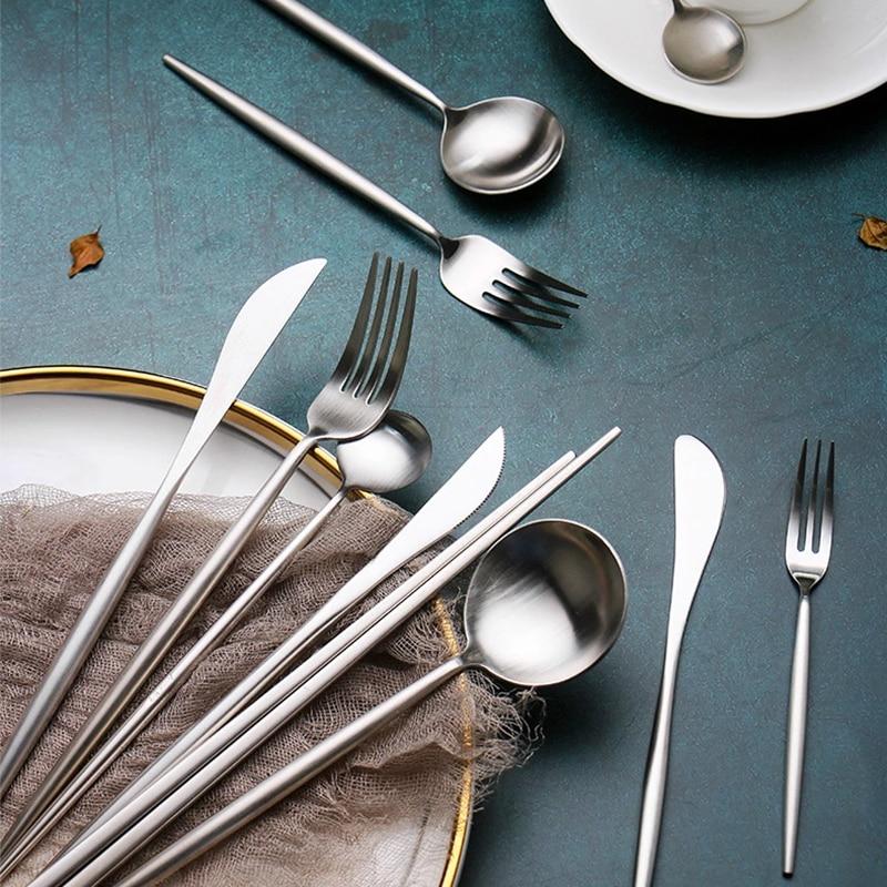 Juego De tenedor sólido para carne, vajilla nórdica De acero inoxidable, cuchillo, tenedor, cuchara, Couverts De mesa Inox, vajilla occidental Simple FF60D