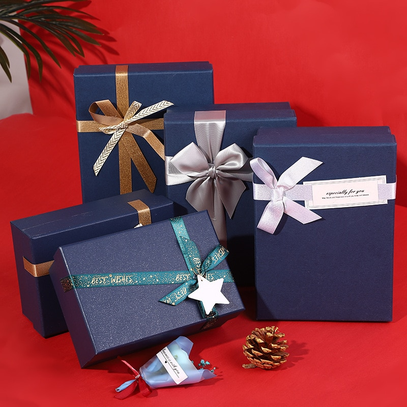 1PC 9Inch Blue Hard Cardboard Gift Box With Bow-Knot,Package for Birthday gifts, Christmas gifts, Valentine's Day gifts etc.