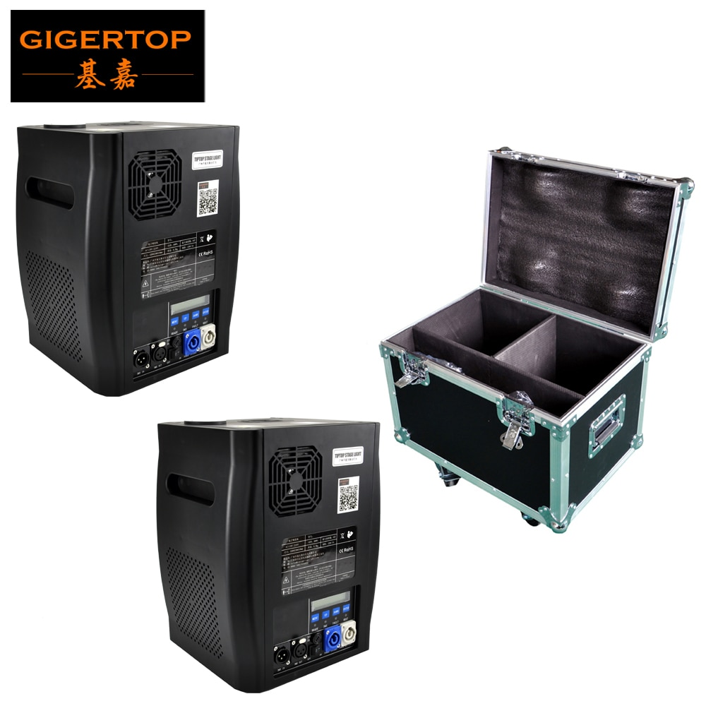 2IN1 Flight Case Pack 2 Units 600W Stage Cold Sparkle Machine fountain DMX Sparkular Machine with Cable Space and Wheels