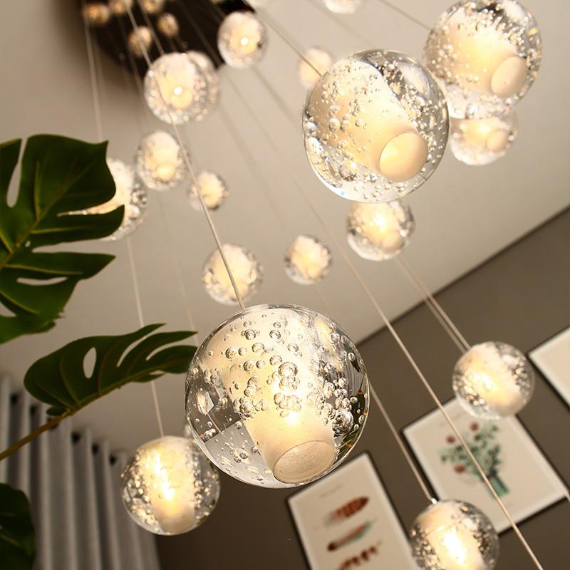 الحديثة كريستال قلادة LED تركيبات إضاءة فاخرة معلقة مصابيح لغرفة المعيشة الإضاءة الدرج Apartmen ثوم أضواء ديكور