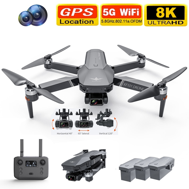 2021 NEW KF101 Drone GPS 4K HD Profesional Camera 3-Axis Gimbal Drones 5G Wifi EIS Anti-Shake FPV Drone RC Quadcopter Toys 1200M