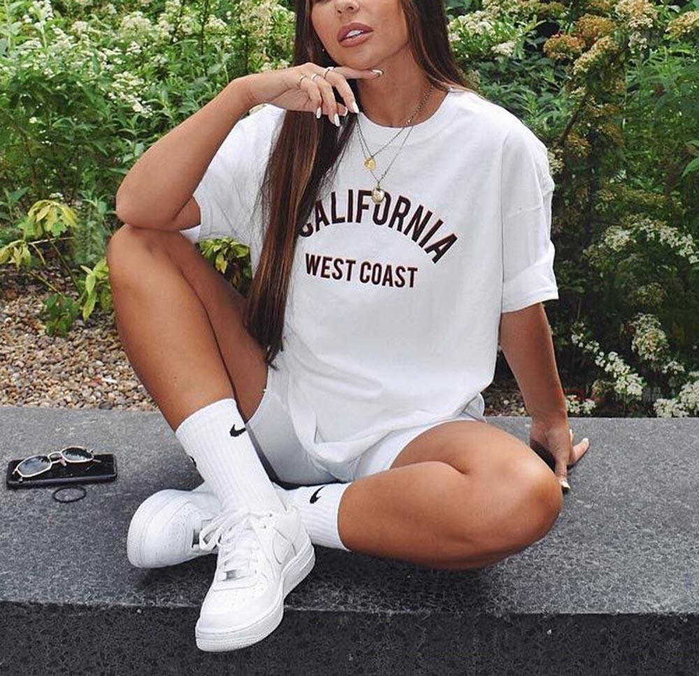 California West Coast Summer T Shirt Women Short Sleeve Funny Tshirt Women Cotton Tee Shirt Femme T-shirt White Camisetas Mujer
