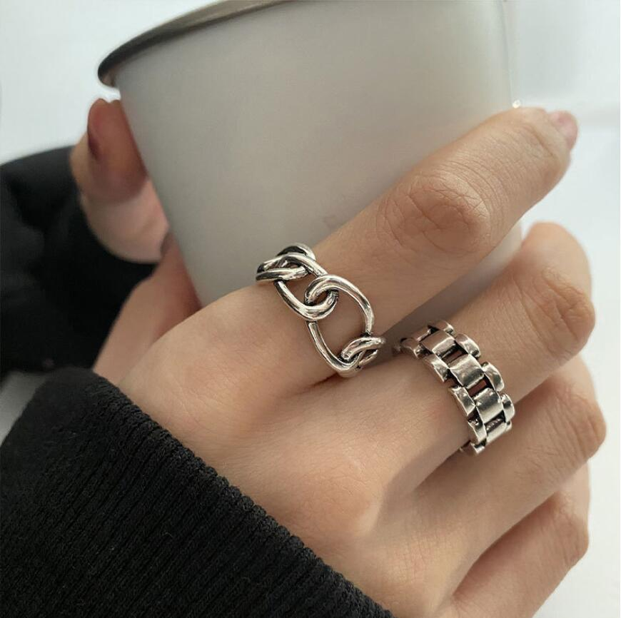 925 Sterling Silver Watch Strap Buckle Geometry Index Finger Opening Rings For Women Couple Trend Je