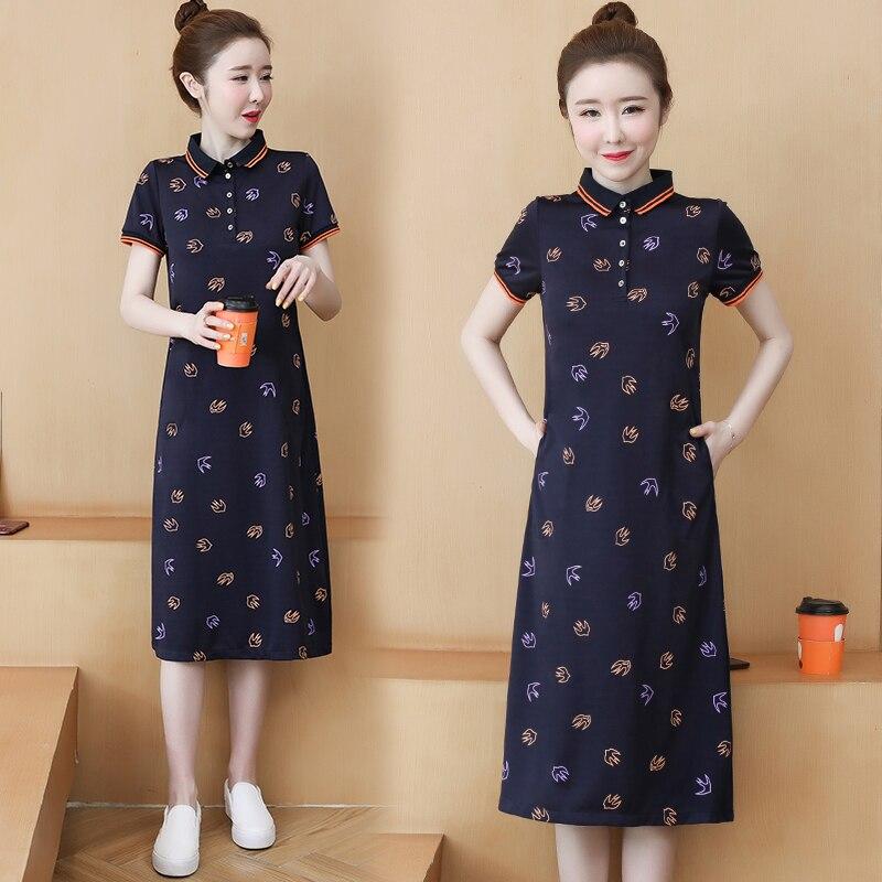 Plus size polo vestido feminino coreano floral impressão tshirt vestidos feminino listrado roupas casuais 90s midi vestidos de verão 2020