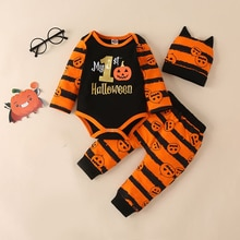 Bear Learder 3Pcs Set Halloween Baby Girl Clothes Newborn Infant Autumn Cotton Romper Pants Hat Outf