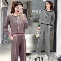 two piece womens autumn and winter new age reducing fashion knitted sweater sports suit hooded casual two piece suit