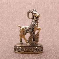 vintage pure copper sheep statue figurines miniatures home decor living room desktop ornaments office money sheep mascot crafts