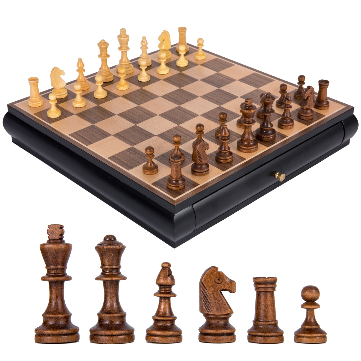 Luxury Chess Set Table Retro Classic Wooden Drawer Storage Adults Tournament Kids Professional Chess Juego De Mesa Board Game E5