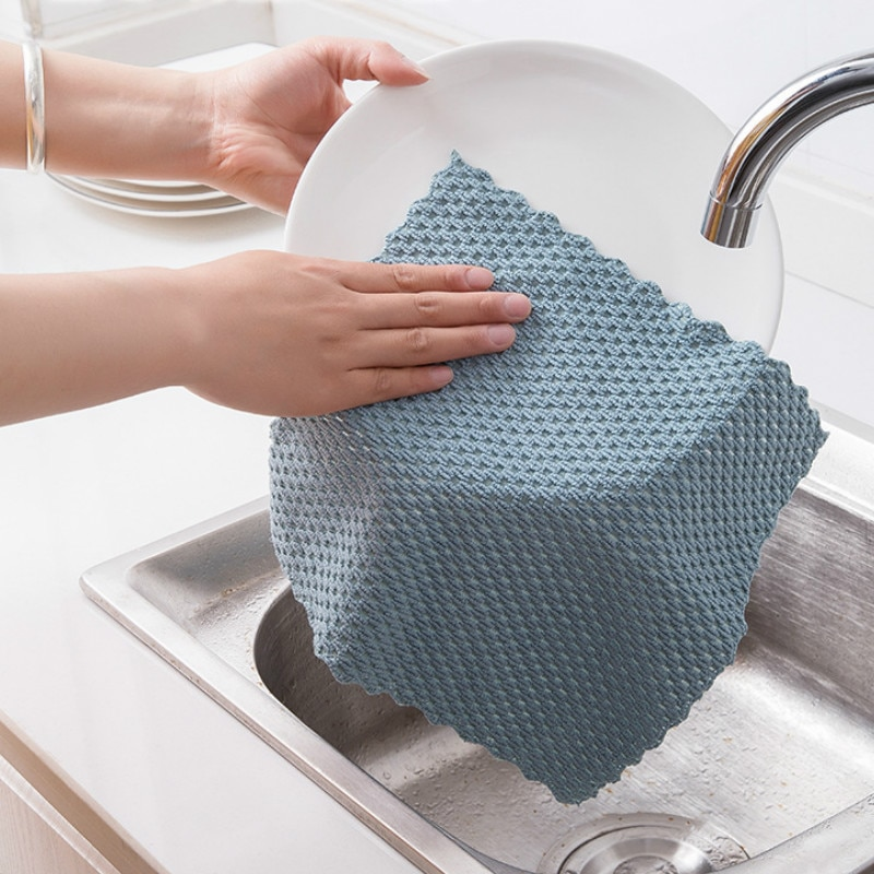 Anti-grease Wiping Rags Kitchen Efficient Super Absorbent Microfiber Cleaning Cloth Home Washing Dish Kitchen Cleaning Towel недорого