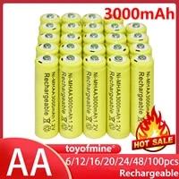 61216202448100pcs aa battery batteries bulk nickel hydride rechargeable ni mh 3000mah 1 2v yellow