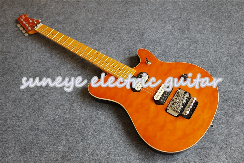 Guitarra eléctrica de caoba, instrumento de Music Man acolchado, color naranja, China,...