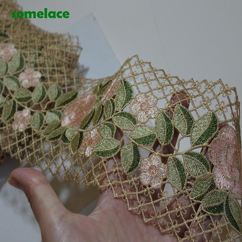 (1Yd ~ 2Yds ~ 5Yds/lote) 10cm de ancho, marrón, rejilla, hueco, Rosa, Verde, mezcla de flores, encaje de Venecia, tela de encaje de alta calidad 20100406