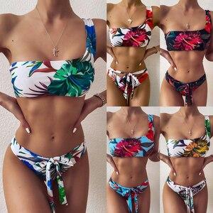 2020 New Sexy High Waist Swimwear Printed Bikini Set Strap One-Shoulder Swimsuit Women Beach Bathing Swimming Suit Bikini