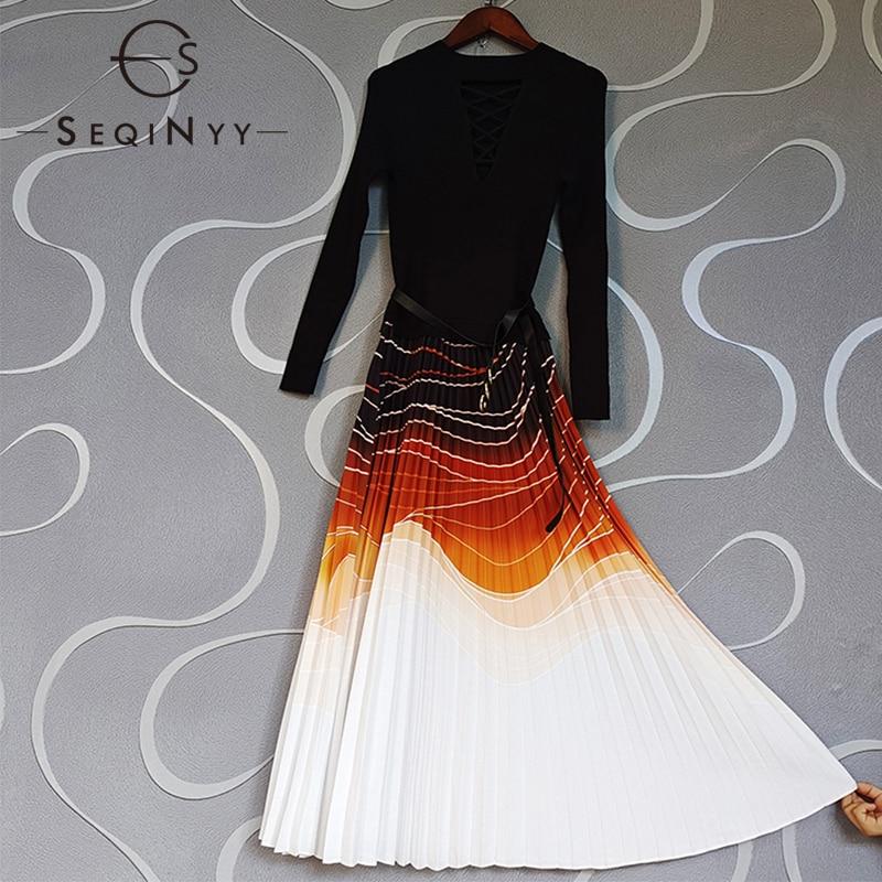 فستان ربيع وخريف من SEQINYY موضة جديدة تصميم المرأة المدرج الأنيق الأسود الحياكة تقسم البرتقال طباعة مطوي ميدي مع حزام