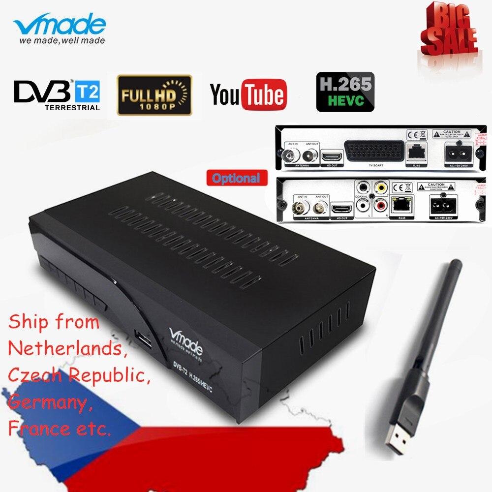 Nuevo HD Digital terrestre DVB T2 K6 scart/AV sintonizador de TV HD 1080p H.265 / HEVC apoyo YouTube DVB T2 TV RECEPTOR + WIFI USB