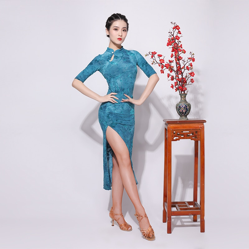 Novo vestido de dança latina desempenho cheongsam vestido de mulher adulto temperamento prática roupas sexy dividir roupas vestido