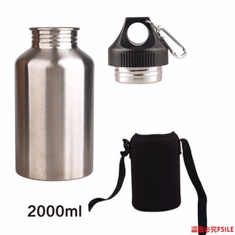 1 مجموعة حامي خطاف حقيبة الرياضة شرب زجاجة ماء مع 2L الفولاذ المقاوم للصدأ واسعة الفم زجاجة مياه الشرب في الهواء الطلق غلاية شاي للسفر