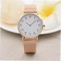Men Women's Watch Ancient Arabic numerals Rose Gold Design  Stainless Steel Watch Relogios Masculino erkek kol saati zegarek Q