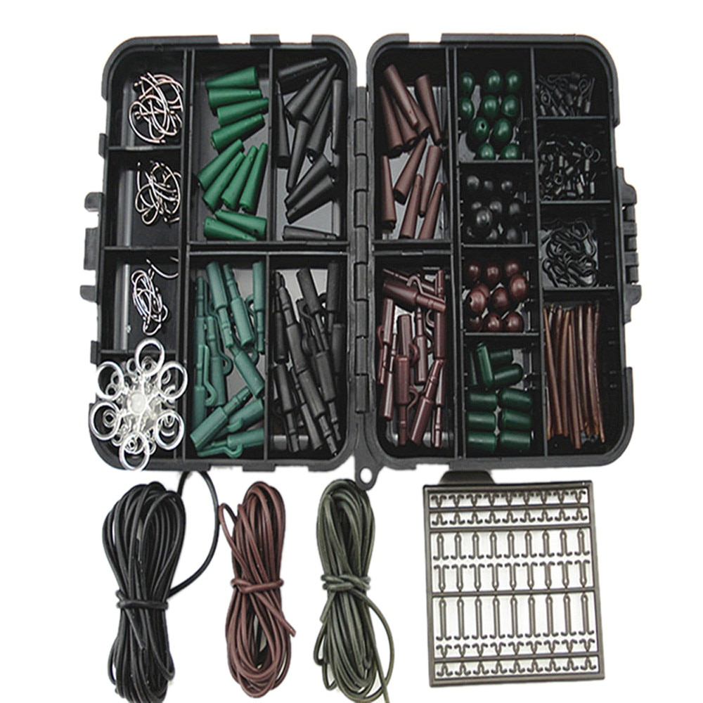 Set de aparejos de pesca surtido de accesorios de pesca de carpa cajas de aparejos para aparejos de pelo caja Combo topes