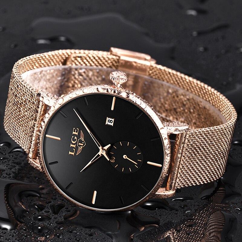 LIGE Luxury Women Watches Mesh Watch Fashion Casual Female Quartz Date Clock Women's Watches Relogio Feminino Gift For Women enlarge