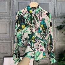 France style femmes confort imprimé fleuri noeud papillon chemises 2020 printemps été mode chaude femmes en mousseline de soie chemise B850