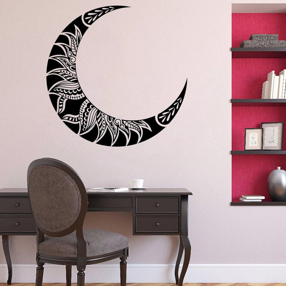 Виниловая наклейка на стену с черным и белым полумесяцем, мандала, бохо, лепестки цветов, Виниловая наклейка, наклейка для спальни, Настенна...