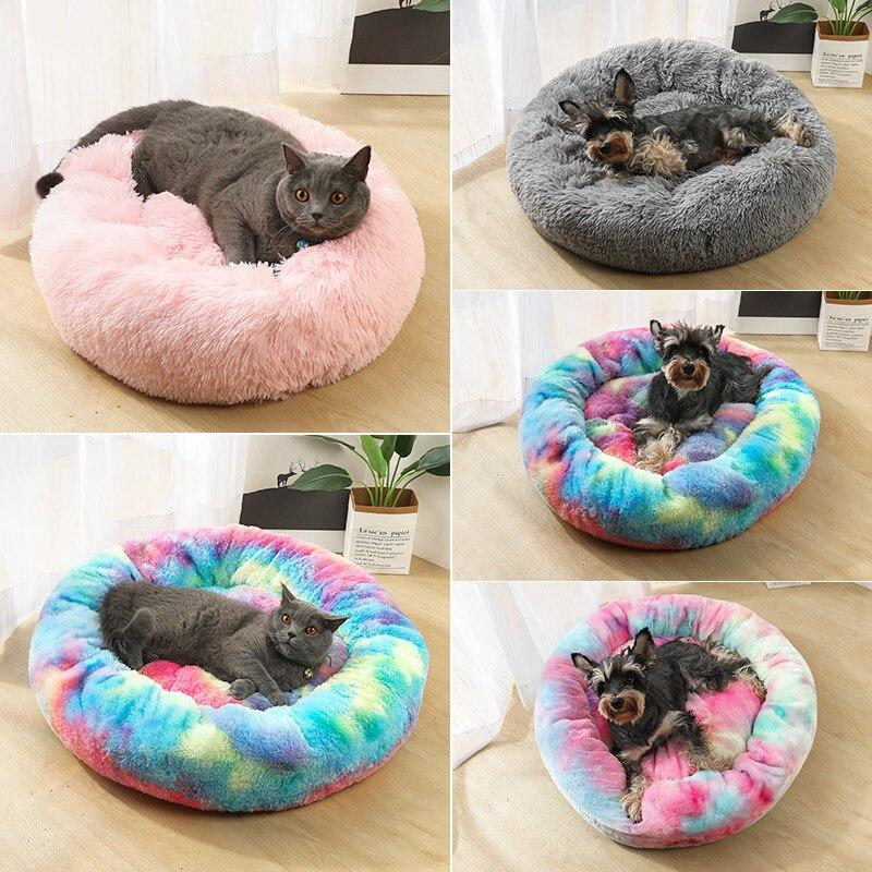 Saco de dormir cálido de invierno para perros con lecho de mascota caseta súper suave de felpa larga, cojín para cachorros, material portátil para gatos de 50/60cm