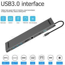 10 en 1 type-c à 4K HDMI RJ45 USB 3.0 VGA 3.5mm Port Audio Hub adaptateur Dock