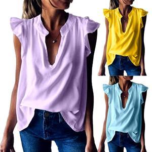 Women Fashion Solid Color V Neck Short Ruffled Sleeve Loose T-shirt Blouse Top women's shirt women's blouse fashion blouses girl
