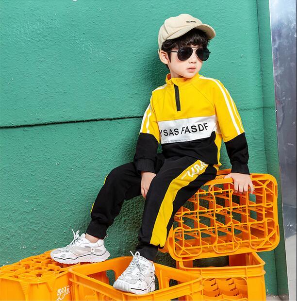 Moda de primavera y otoño bebé niños de cuello alto suéter con pantalones 2 unids/set chándal infantil niños ropa Suts 2-8years