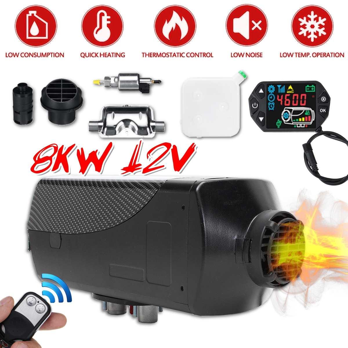 12 v 8kw carro diesels ar aquecedor de estacionamento aquecedor de carro lcd controle remoto monitor interruptor + silenciadores para caminhões ônibus reboque