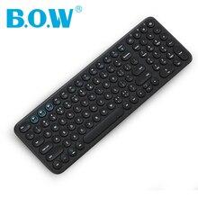 B.O.W Bluetooth sans fil 96 touches clavier mince, Ultra mignon touches rondes multi-appareils pour smartphone/tablette/ordinateur portable bureau fille