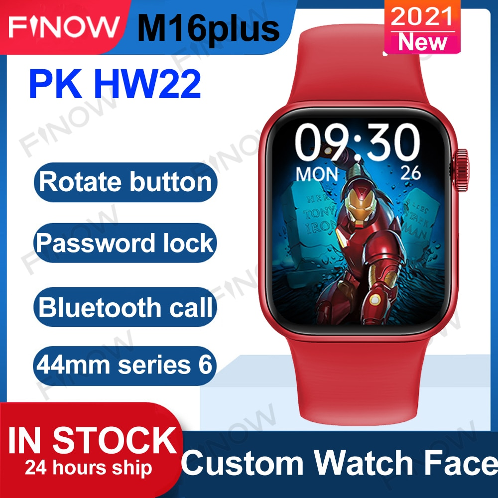 2021 Finow M16plus ساعة ذكية PK HW22 Pro HW16 ساعة ذكية للرجال, 44 مللي متر iwo سلسلة 6 BT مكالمة خلفية مخصصة VS W26plus DT100