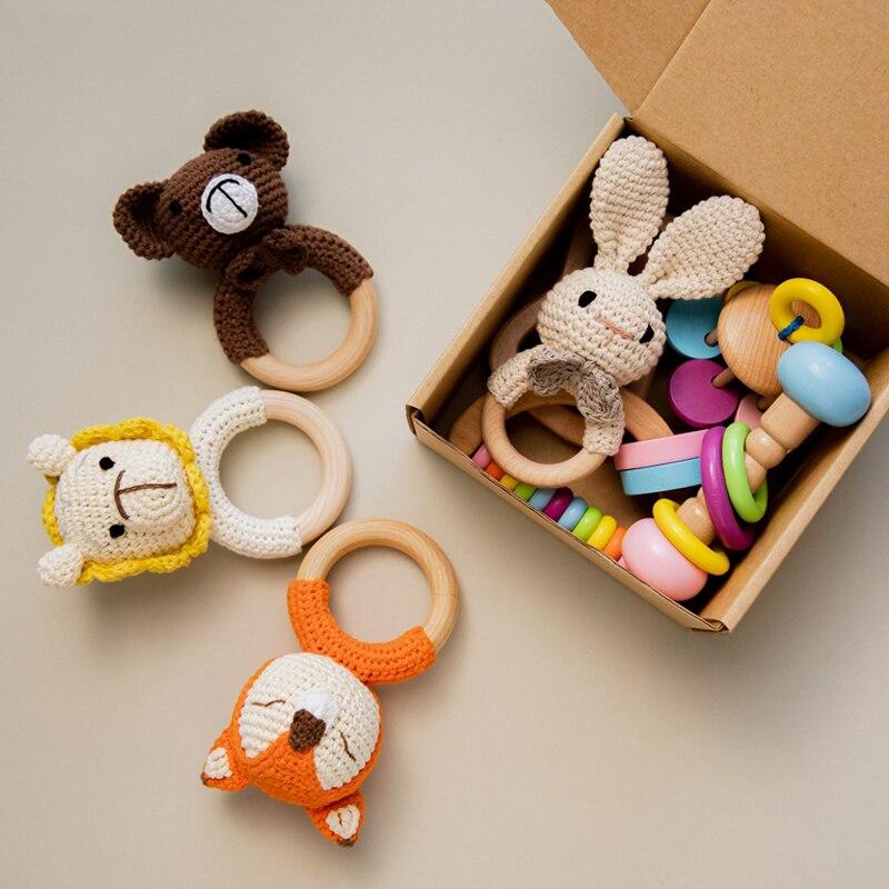 Детские игрушки, связанная крючком погремушка комплекты безопасный, деревянный захват игрушки и яркие, с мультяшными вставками, связанная ...