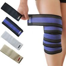 Powerlifting elástico bandagem fita perna bezerro joelho cinta apoio envoltórios joelheiras protetor