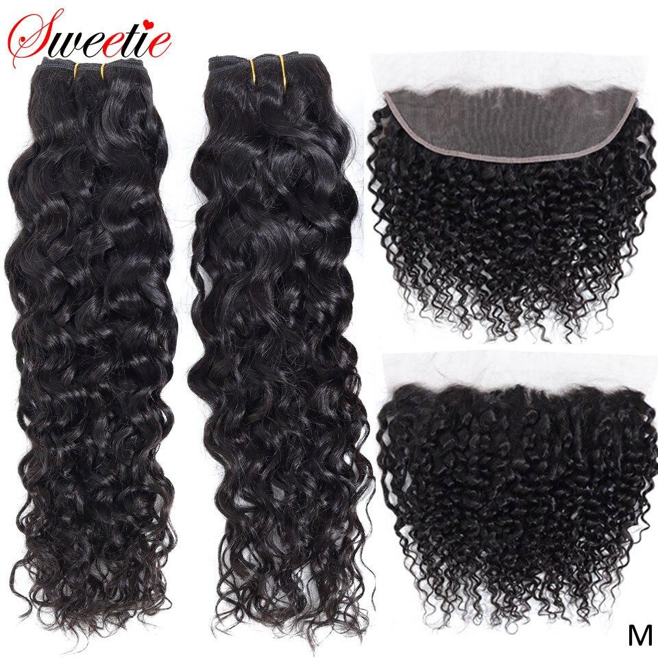 Sweetie-وصلات شعر هندي طبيعية غير ريمي ، مموج ، 13x4 ، مع غطاء دانتيل ، مجموعة من 3