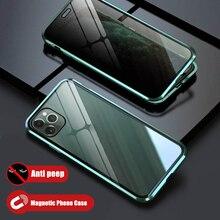 Confidentialité Magnétique Étui En Verre Anti Peep Écran Protecteur pour iPhone 11 Pro Max 6 7 8 Plus X XS XR Aimant Housse