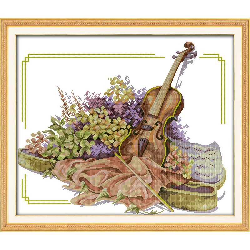 Joy Sunday el violín y las flores contaron punto de cruz 11 & 14 ct DIY Kits de punto de cruz costura para la decoración del hogar regalo hecho a mano