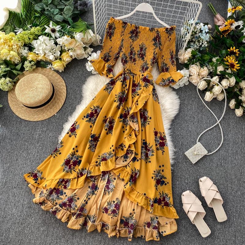 Seaside Estilo de vacaciones Vestido largo con estampado de flores medio-Manga de hombro de cintura alta vestido Slash manga volantes irregulares vestidos
