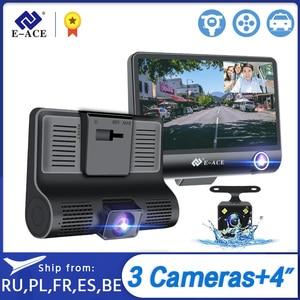E-ACE B28 Car Dvr Dash Cam 4.0 Inch Video Recorder Auto Camera 3 Camera Lens Support Rear View Camera Registrator Dashcam DVRs