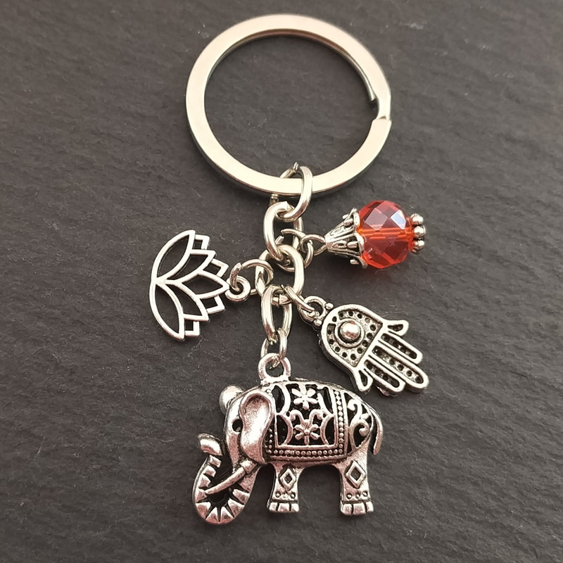 1pc Tribal Ethnic Keychains Unique Bohemia Gift Key Holder Lotus Jewelry Hand Elephant Car Keychain For Women