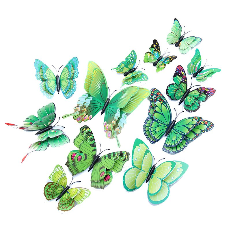 12 pçs 3d colorido simulação borboleta diy geladeira ímã adesivo pvc dupla layeron gelo caixa paster icebox adesivo
