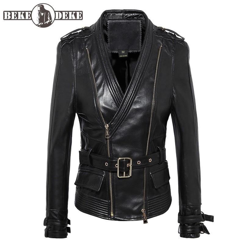 OL Style-جاكيت راكب الدراجة النارية من جلد الغنم للنساء ، ملابس الشارع ، ياقة على شكل v ، معطف قصير ، مقاس كبير 4XL ، ملابس خارجية أنيقة من الجلد