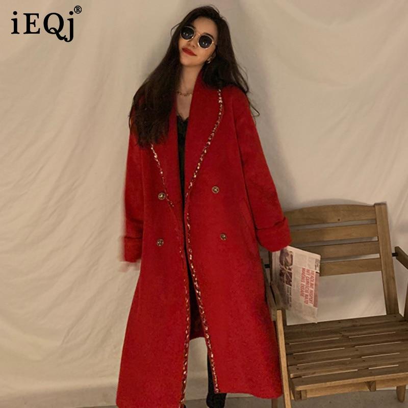 IEQJ الراقية سترة حمراء 2021 شتاء جديد كوريا نمط منتصف طول مزدوجة الصدر مزاجه فضفاض الصوفية معطف المرأة 3F0774