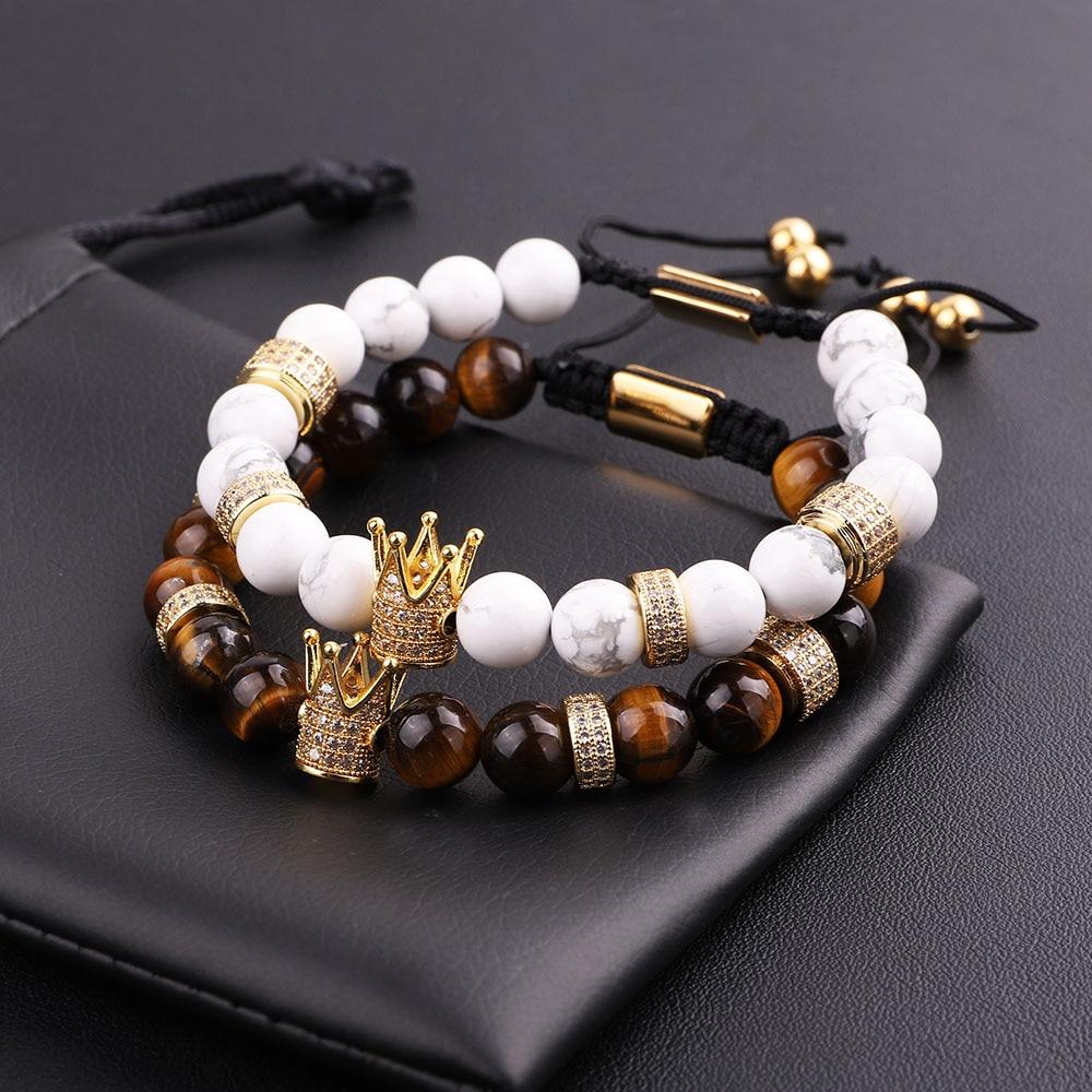 New Design Men Women Bracelet Natural Tiger Eye Howlite CZ Micro Pave Crown Friendship Macrame Adjus