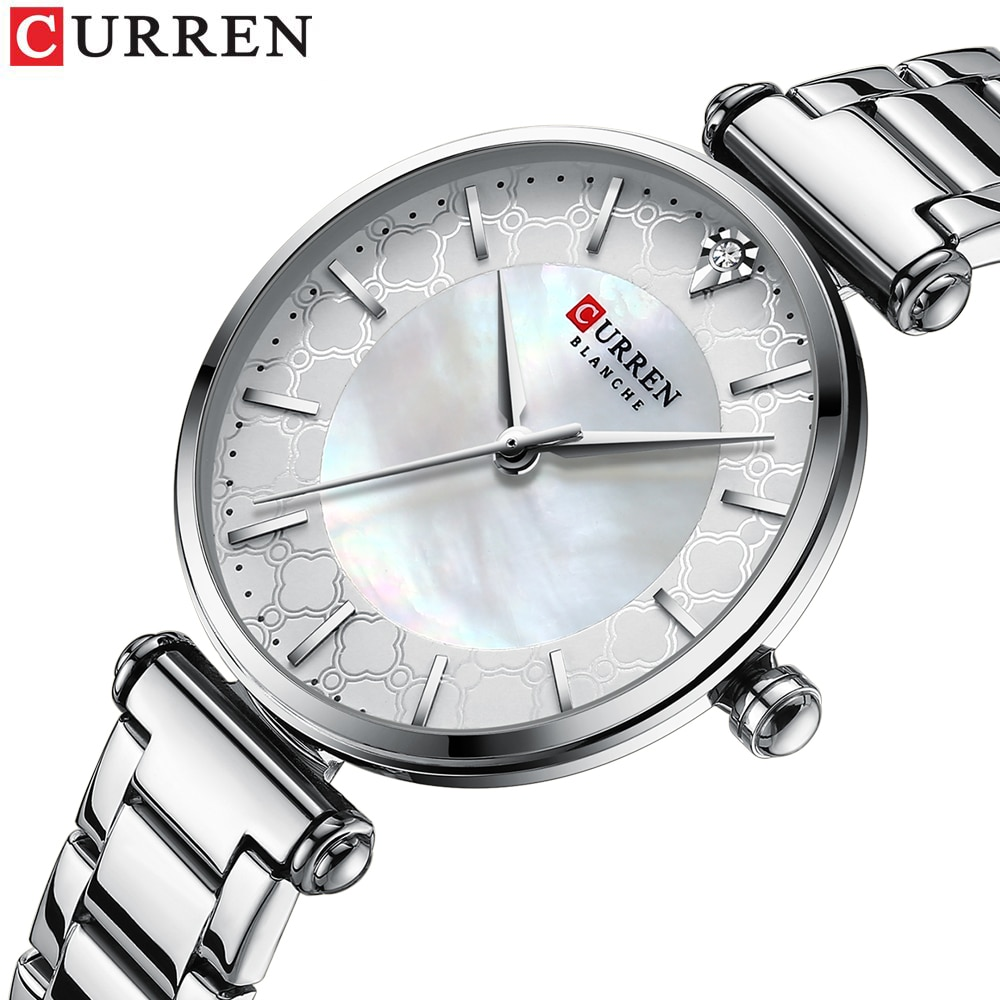 CURREN 2020 New Fashion Diamond Design White Silver Quartz Watch Stainless Steel Waterproof Clock Luxury Brand Watches for Women