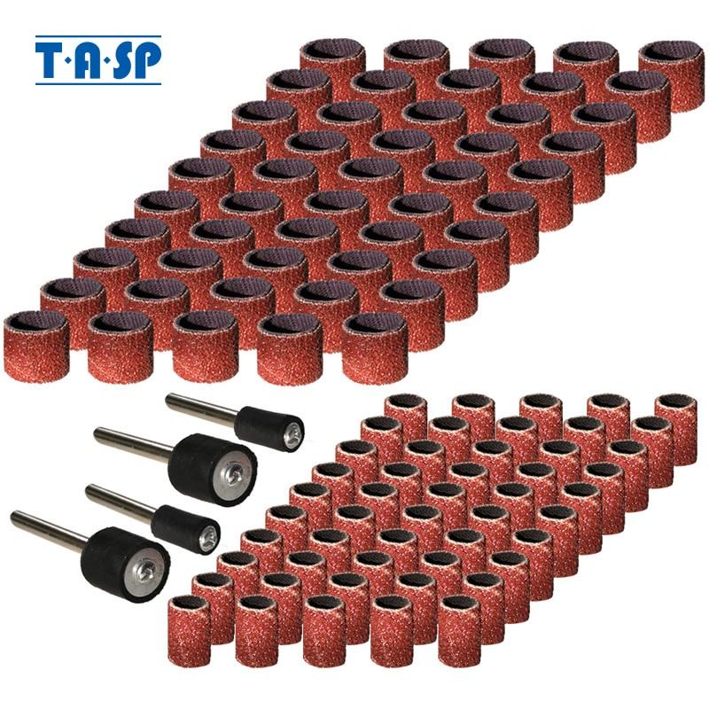 TASP 100 pièces abrasif bande de ponçage manchon et tambour Kit papier de verre outils rotatifs accessoires avec mandrins grain 80/120/180