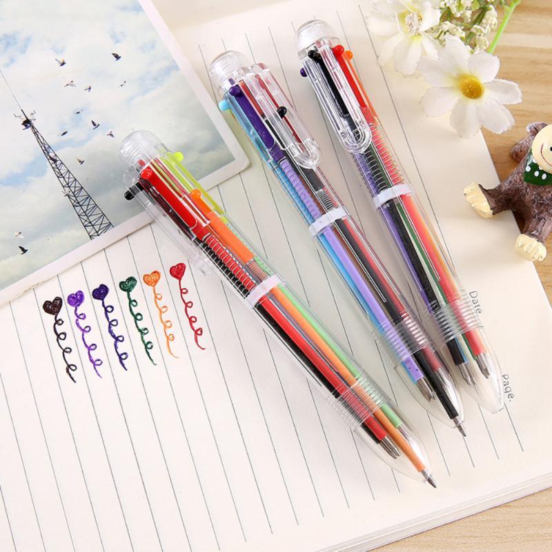 1 pçs caneta esferográfica plástico multifuncional imprensa estilo canetas de bola para a escola escritório marcador caneta esferográfica escrita suave 6 cor